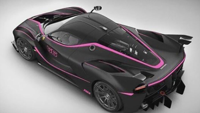 Ferrari FXX K noir et rose arrière