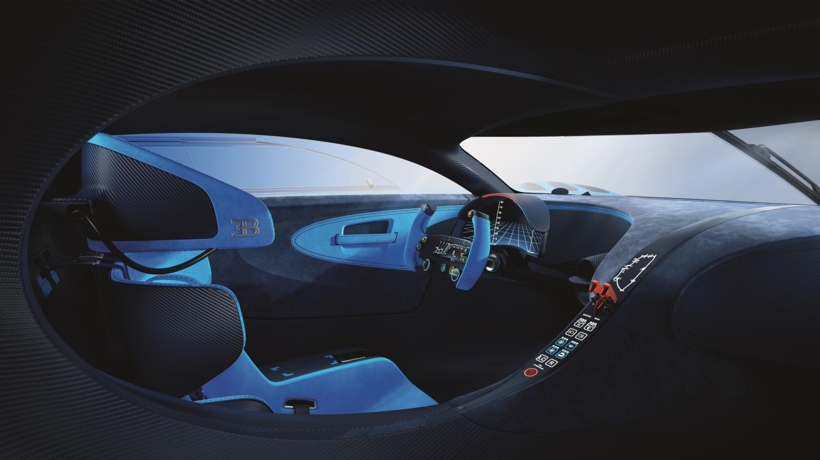 Bugatti vision gran turismo en attendant chiron for Interieur bugatti chiron
